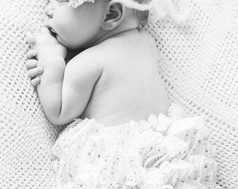 Crochet ruffle diaper cover and headband