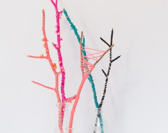 Set of Colorful Wrapped Tree Branch Home Decor with Hand Painted Wooden Beads