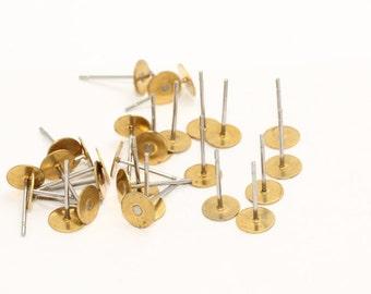 50 Pcs Raw Brass Earring Studs , mm , 6mm Flat Stud, Flat Pad Earring Posts , Flat Post Earrings , CMR62