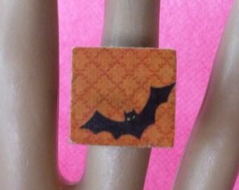 Halloween Bat Scrabble Tile Ring