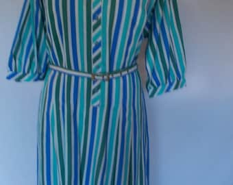 Vintage dress 80s by Gregor Mai candy striped dress with belt size large