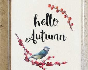 fall print, happy fall, autumn decor, fall printable, hello autumn, fall decor, printable art, typography print, autumn home decor fall sign