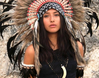 Indian  headdress replica , black, cream and red, short length, warbonnet native american style, feather headpiece