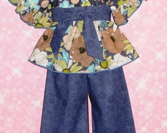 Girls Peasant Top, Ruffle Pants, Set, Boutique Fall Outfit Blue, Flower, Floral, Handmade, School Outfit, Baby 6 12 18, Toddler 2T 3T 4T 5T