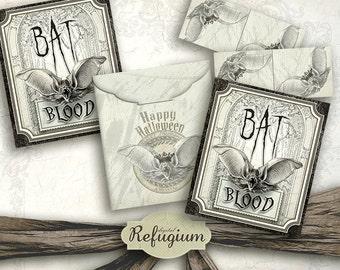 Halloween, printable Tea bag envelopes bat blood / INSTANT DOWNLOAD/ Digital Collage Sheet/DIY