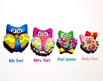 Family Magnets, Owl Family Portrait, Owl Magnets, Clay Owl Family, Magnet Family Portrait, Kitchen Magnets, Family Figurines, Fridge Magnets
