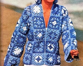 CROCHET Granny Square Hooded Jacket Pattern, Crochet Zipper Coat, Granny Square Jacket,  Digital Download U.S.Version