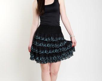 Black lace skirt Midi women skirt Dance skirt Elastic waist skirt Turquoise lace skirt Ruffles skirt Comfortable flounce skirt Lace trim