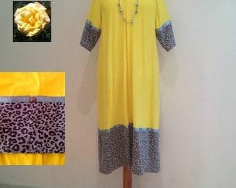 Yellow tunic dress sale, leopard midi dress, loose fit day dress, womans yellow dress, danish design, womens dresses, green yellow dresses