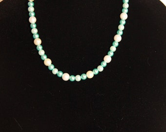 White and Blue Pearl Necklace