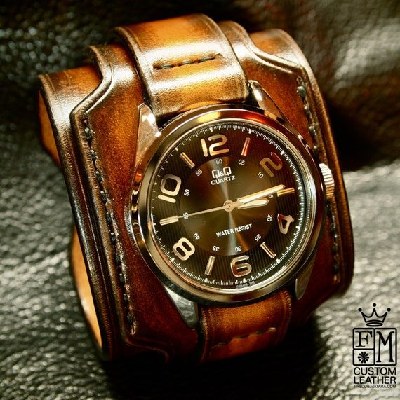 Leather cuff watch Brown Tobacco sunburst wide layered Brown watch band cuff Bracelet  Handmade for YOU in NYC by Freddie Matara