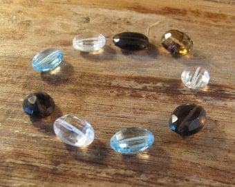 9 Gemstone Beads, Nine Oval Beads, Gemstone Mix, Blue Topaz, Smoky Quartz, Crystal Quartz, Beer Quartz, Jewelry Supplies (L-Mix3c)