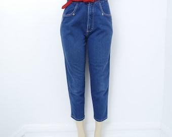80s Tapered Capris Gitano High Waist Jeans 6 Pockets 27 inch waist