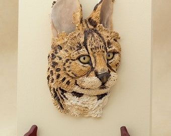Serval Sculpture, Wildlife Art, Bas Relief Sculpture, African Animal Wall Art, Polymer Clay Art, Cat Art, Figurine