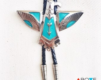 Silver and Turquoise Native American BOLO TIE NECKLACE - 'Thunderbird' Totem Bolo Tie