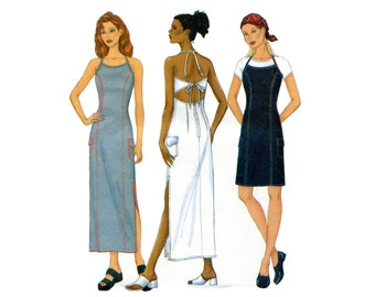 Halter Dress Pattern Diamond Back Princess Seams Straight Sheath Halter Dress Maxi Long Butterick 6526 Bust 40 42 44 Sewing Pattern