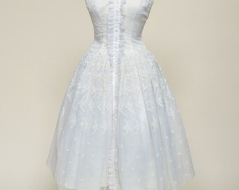 Vintage 1950s Wedding Dress...Tuxedo Style Tea Length Flocked Organza Wedding Dress
