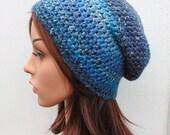 Hand Crocheted Hat Womens Beanie Slouch Hat Blue Crochet Hat Hand made in Ireland