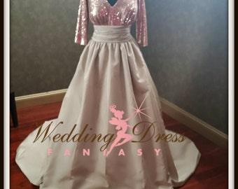 Rose Gold and Champagne Wedding Dress Unique Sequins Bridal Gown Custom Handmade to your Measurements