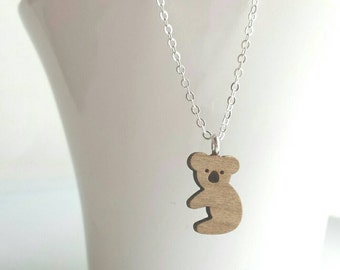 Koala Bear Necklace - small wooden cut shape pendant on delicate silver or gold chain - medium shade finish wood - cute Australian animal