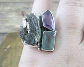 80% OFF - Vintage Moldavite, Amethyst, & Blue Topaz .925 Sterling Silver Ring - Handmade - Size 8