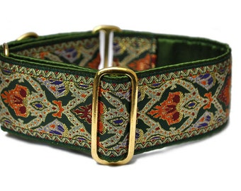 Green and Gold Renaissance Jacquard Martingale Collar - 2 Inch