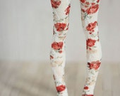 High stockings with red flowers for BJD