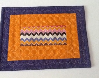 Orange and Purple Quilted Mug Rug  Quilted Candle Mat