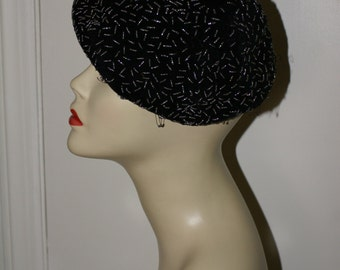 VINTAGE BEADED VELOUR Hat, 1950's Retro, Flapper Style Hat, Beret Style