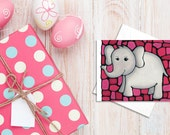 Elephant Birthday Card - Grey Elephant on Pink Background - Baby Shower Card, Baby Card, Invitation, Holiday Card - by Artist Kathy Lycka