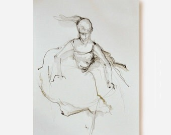 A5 Original female drawing-pencil on acid free paper-Female dancing/movement/art/flowing/modern art drawing/scketch by Cristina Ripper
