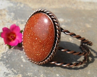 Goldstone Cuff, Red Goldstone Jewelry, Rustic Stone Cuff, Copper Jewelry, Copper Cuff Bracelet, Unique gift for her, Ready to Ship