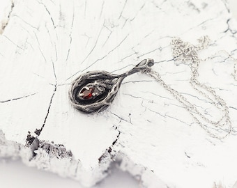 Secret Forest Pendant, Tree Branches, Goth Jewelry Garnet, Red Stone, Gothic Garnet Necklace, Sterling Silver, January Birthstone