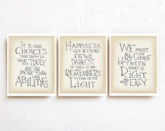 Harry Potter quote print set of 3 - Albus Dumbledore quote inspirational art poster, kids wall art, nursery decor, dorm decor, teen boy gift