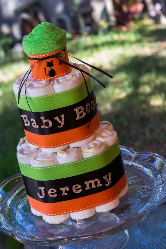 Halloween Diaper Cake | Green Orange Black Diaper Cake |  2 Tier Diaper Cake | Halloween Baby | Halloween Baby Shower | Diaper Cake