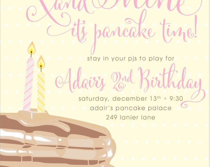 Pancakes & Pajamas | Birthday Party Invitation