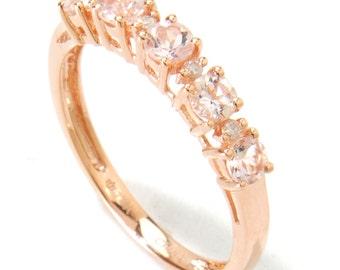 14KT Rose Gold 0.52ctw Morganite & Diamond Ring