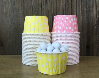 Yellow and Pink Paper Snack Cups - Set of 48 - Polka Dot Candy Cup - Birthday Party - Mini Ice Cream Cup - Paper Nut Cup - Same Day Shipping