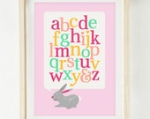 Baby Girl Nursery Art Print - Bunnies - Alphabet - Typography - Gender Reveal