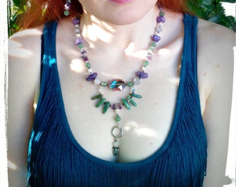 Green White and Purple Flourite and Mountain Jade with Crystal Necklace and Earring Set