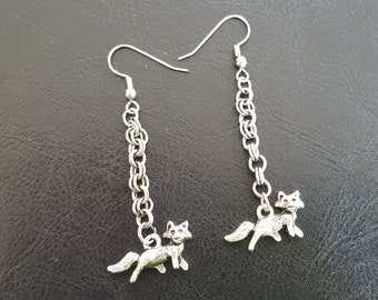 SALE! Foxy Dangle Earrings! Adorable silver metal foxes hanging two inches on double link chains.