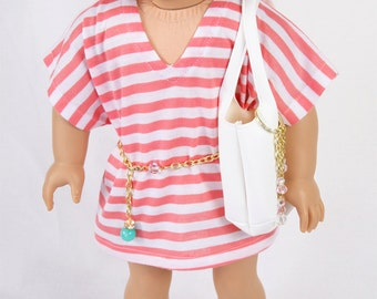 Handmade 18 Inch Doll Clothes, Fits like American Girl Doll Clothes, MODERN RESORT, Beach Cover/Tunic, Gold Sandals, White Handbag & Belt