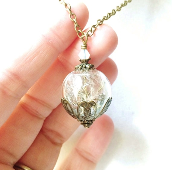 Dandelion Seed Terrarium Necklace with a Tiny Opalescent Crystal, Small Orb In Bronze, Bridesmaid Gift