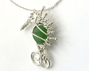 SeaHorse Sea Glass Necklace Wire Wrapped Emerald Green Argentium Sterling Silver Jewelry