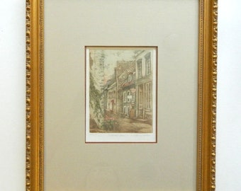 """City Street Print by Nicole Ouellet - Petit Champlain - Limited Edition - 13"""" x 16"""" Professionally Framed"""