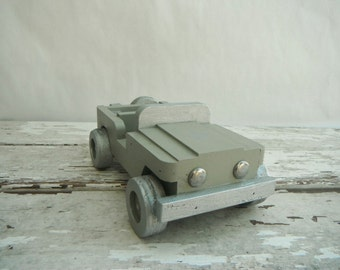 Painted Wood Toy Jeep. In Drab Green and Silver