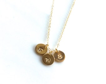 Gold Filled Initial Necklace, Three Gold filled Initial Charm Necklace, Gold Filled Chain, Mother's Day Gift, Three Gold Initial Necklace