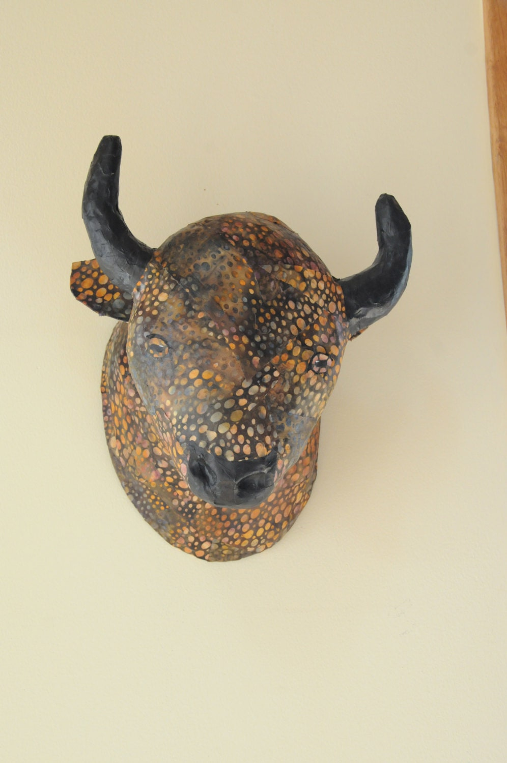 Faux Taxidermy Bison Paper Mache Animal Head Paper Mache