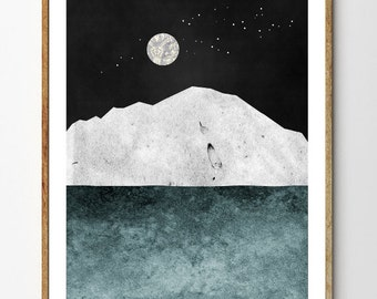 Silver Moon - Iceberg Art Print, Ocean Decor, Moon Art, Nature Print, Nautical Decor, Surreal Mountain Art, Starry Night, Home Decor