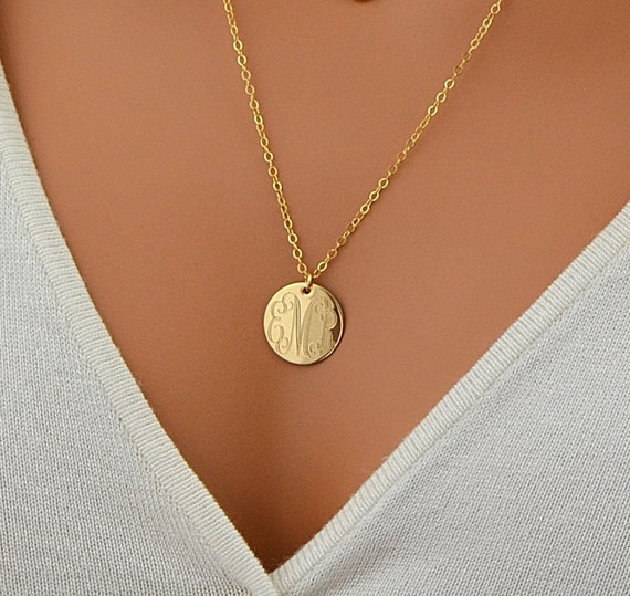 Large Disc Necklace Monogram Necklace Gold Necklace Circle